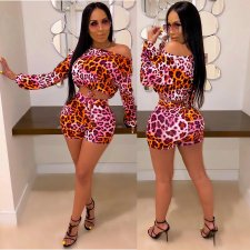 Leopard Print Oblique Collar Crop Top And Shorts Set MDO-9071