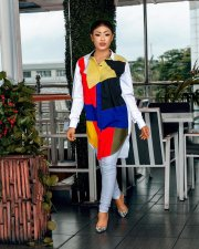 Color Block Long Sleeve Turndown Collar Shirt Dress OJS-9143