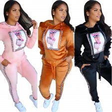Casual Hooded Full Sleeve Long Pants Two Pieces Outfits CQ-5275