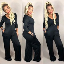 Black Hooded V Neck Long Sleeve Loose Jumpsuits SMD-6647
