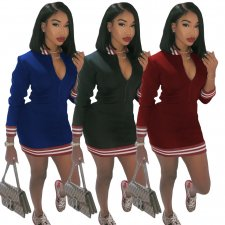 Casual Stripe Spliced Zipper Long Sleeve Mini Dresses ML-7248