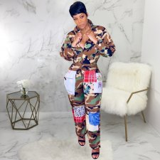 Camoufalge Print Long Sleeve Front Zipper Jumpsuits SMR9401