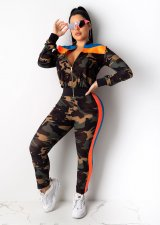 Camouflage Print Long Sleeve Zipper Two Piece Sets DM-8097