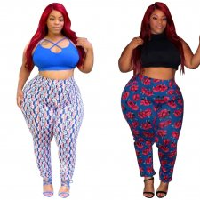 Plus Size 4XL Printed High Waist Skinny Long Pants OMF-062