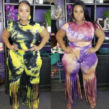 Plus Size 5XL Tie Dye Tassel Short Sleeve 2 Piece Sets YIF-1040