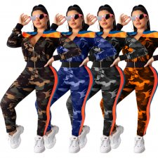 Camouflage Print Patchwork Casual Two Piece Sets LA-3135