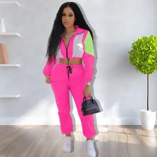 Casual Patchwork Tracksuit Zipper Long Sleeve 2 Piece Sets ARM-8130