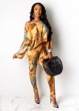 Leopard Print Long Sleeve Two Piece Outfits WSM-5104