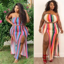 Plus Size 5XL Striped Strapless High Split Maxi Skirt Set YIF-1067