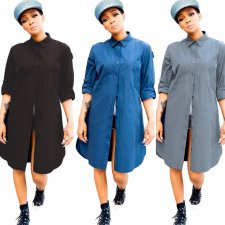 Solid Long Sleeve Button Up Casual Loose Shirt Dresses BGN-023