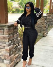 Casual Long Sleeve Tracksuit Zipper Two Piece Sets PIIN-8430