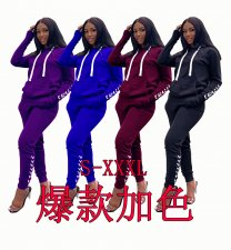 Plus Size Tracksuit Hooded Long Sleeve Two Piece Sets BANM-7016