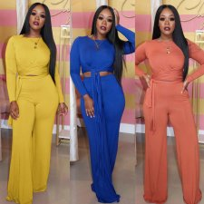 Solid Long Sleeve Tie Up Wide Leg Pants Suits LDS-3178