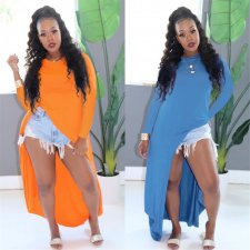 Solid Color Long Sleeve High Split Maxi Dresses ME-342