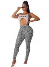 Sexy Straps Hollow Out Letters Printed Jumpsuits OMY-5168