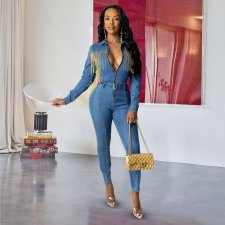 Denim Tassel Zipper Long Sleeve Skinny Jeans Jumpsuits NIK-060