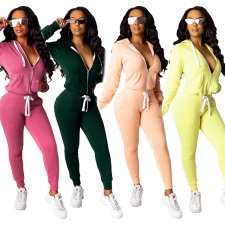 Solid Zipper Hoodies Long Pants Casual Two Piece Sets MIL-064