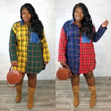 Casual PatchworkFull Sleeve Plaid Print Blouse Shirt SFY-062