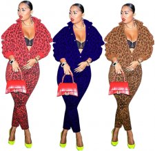 Autumn-winter Women Leopard Printed Two Pieces Sets MEM-8238