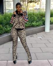 Leopard Print Zipper Jacket Long Pants 2 Piece Outfits HZM-1008
