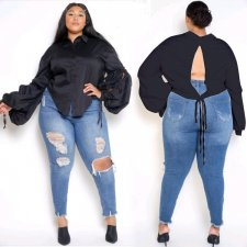 Black Casual Backless Lace Up Blouses QY-5139