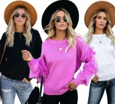 Casual Tassel O Neck Solid Color Pullover Sweater MA-268