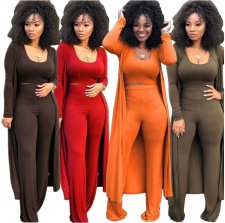 Sexy 3pcs Crop Tops+Long Cardigan+Wide Leg Pants Set YF-9294
