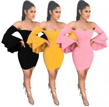 Pure Flared Sleeve Bodycon Dress LSL-6052