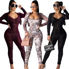 Sexy Printed Jumpsuits And Jacket 2 Piece Sets OMY-5176