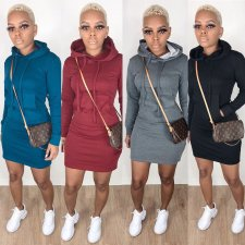 Solid Hooded Long Sleeve Casual Mini Dresses BS-1142