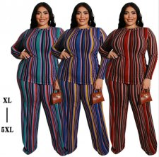 Plus Size 5XL Striped Long Sleeve Two Piece Suits OSS-19430