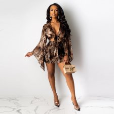 Snake Skin Print Tie Up Crop Tops Mini Skirt Sets MDO-9085