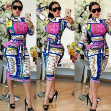 Trendy Printed Long Sleeve Midi Skirt 2 Piece Sets OJS-9167