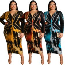 Big Size 5XL Tie Dye Print V Neck Slim Maxi Dresses OSS-19425