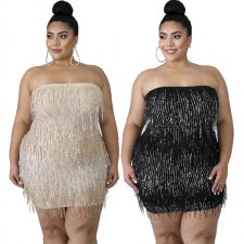 Plus Size 5XL Sexy Tassel Strapless Mini Tube Dresses YIF-1087