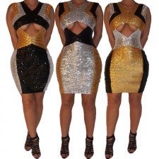 Sexy Sequin Sleeveless Cut Out Party Club Dresses CYA-8188