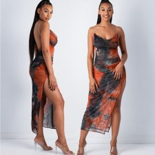 Tie Dye Print Sexy Backless High Split Club Dress SHE-7136