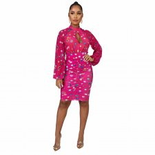 Sexy Open Back Long Sleeve Printed Dresses YF-9549