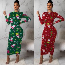 Christmas Print Long Sleeves Maxi Dresses KSN-5083