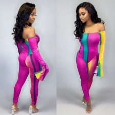 Sexy Striped Slash Neck One Piece Jumpsuits RM-6270