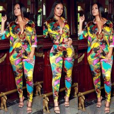 Casual Printed Blouse Long Pants 2 Piece Sets KSN-5089