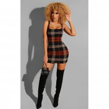 Trendy Plaid Print Sexy Sleeveless Mini Dresses SHE-7139