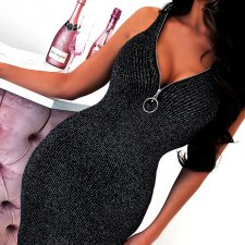 Sexy Shinny V Neck Sleeveless Bodycon Dresses FL-96182