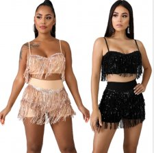 Sexy Sequin Tassel Cami Top Shorts 2 Piece Sets CYA-8203