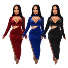 Sexy Deep V Neck High Split Hollow Long Dress SHE-7147