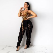 Sexy Leopard Lace Patchwork Spaghetti Strap Jumpsuits SH-3693