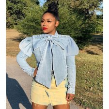Trendy Bow Knot Puff Sleeve Denim Jacket Coats CQ-5295