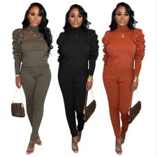 Plus Size Puff Sleeve Tops Long Pants Two Piece Sets MTY-6231