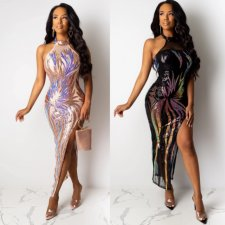 Sexy Sequin High Split Halter Maxi Dress With Bodysuit CYA-8211