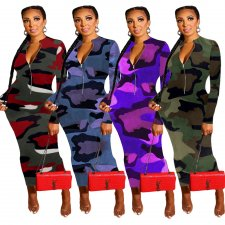 Camouflage Print Long Sleeve Zippe Maxi Dresses JH-130